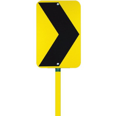 """Yellow and Black Chevron (Left Or Right Mounting Option) - 12"""" H x 12"""" W Aluminum Diamond-Grade Directional Sign"""