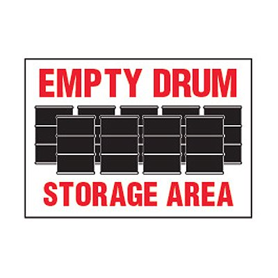 Chemical Safety Labels - Empty Drum Storage Area