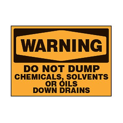 Chemical Safety Labels - Warning Do Not Dump Chemicals