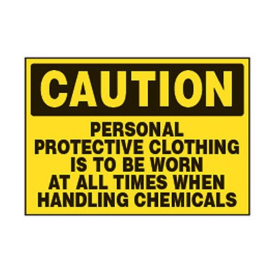 Chemical Safety Labels - Caution Protection Clothing Be Worn