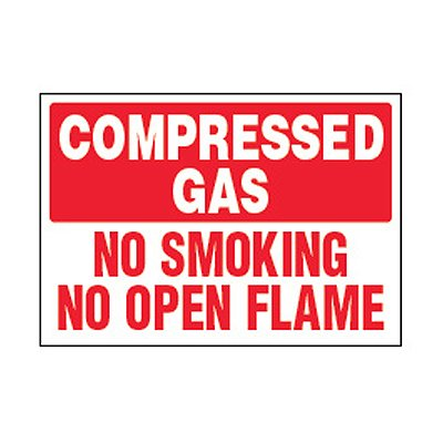 Chemical Safety Labels - Compressed Gas No Smoking