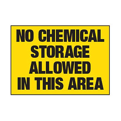 Chemical Labels - No Chemical Storage Allowed In This Area
