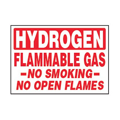 Chemical Safety Labels - Hydrogen Flammable Gas No Smoking