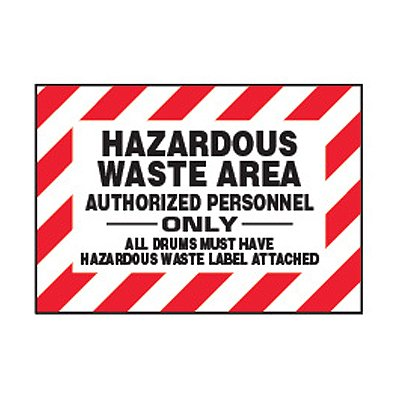 Chemical Safety Labels - Hazardous Waste Area