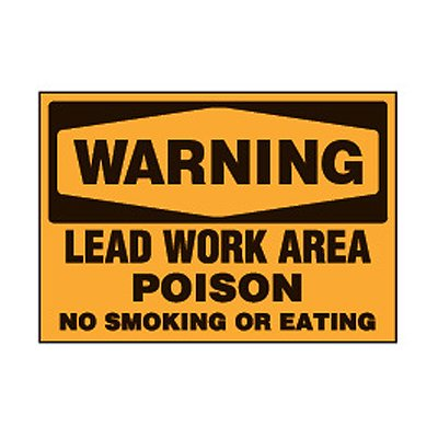 Chemical Safety Labels - Warning Lead Work Area