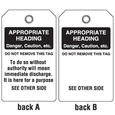Custom Accident Prevention Tags