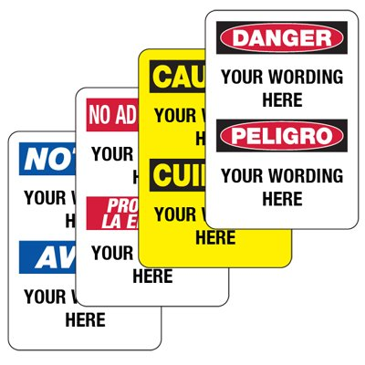 Custom Bilingual Safety Signs