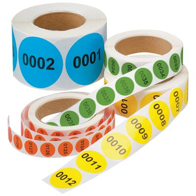 "Numbered Inventory Labels - 1.5"" Diameter"