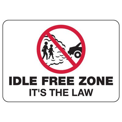 Conserve Energy and LEED Signs - Idle Free Zone It's The Law