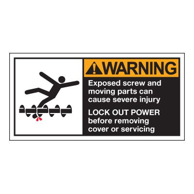Conveyor Safety Labels - Warning Exposed Screw And Moving Parts