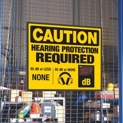 Decibel Meter Signs - Hearing Protection Required (Earmuffs)