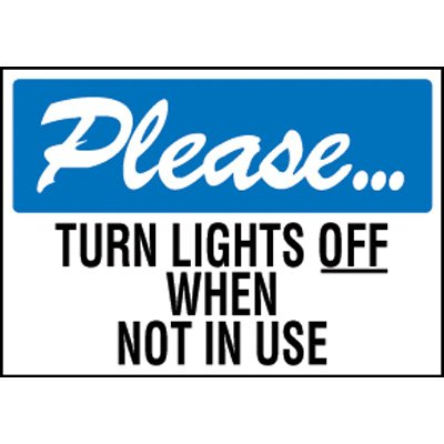 Please Turn Lights Off Label