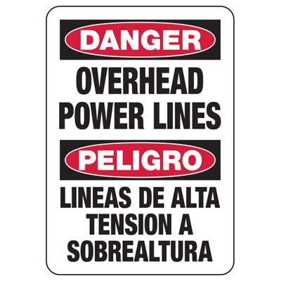 Electrical Safety Signs - Bilingual Danger Overhead Power Lines