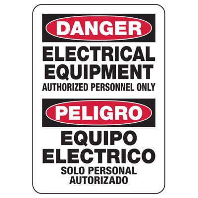 Electrical Safety Signs - Bilingual Danger Electrical Equipment