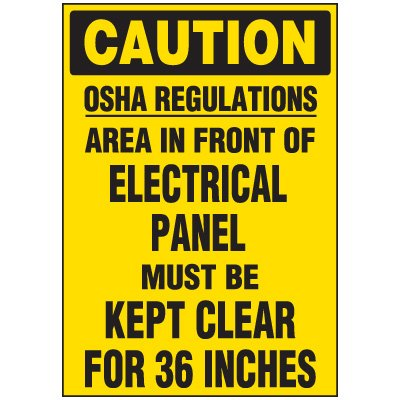 Voltage Warning Labels - Caution OSHA Regulations Keep Clear 36 Inches