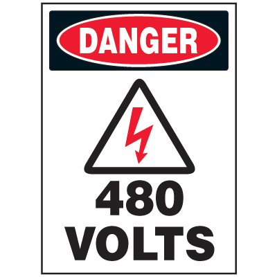 Electrical Safety Labels On A Roll - Danger 480 Volts (With Graphic)