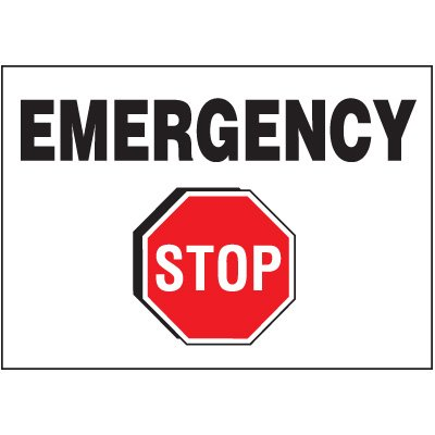 Emergency Stop - Voltage Warning Labels