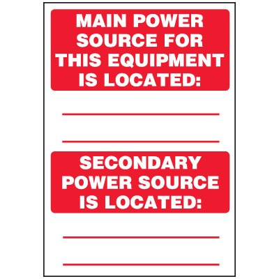 Voltage Warning Labels - Main and Secondary Power Source