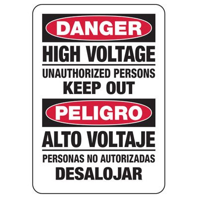 Electrical Safety Signs - Bilingual Danger High Voltage Unauthorized Persons Keep Out