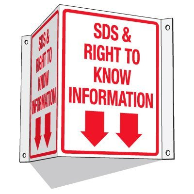 GHS SDS 3-Way Information Sign - SDS & Right To Know Information