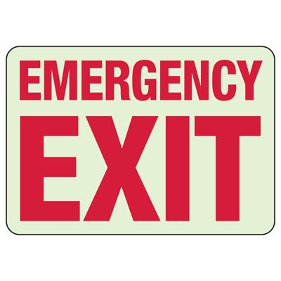 Glow In The Dark Emergency Exit Sign