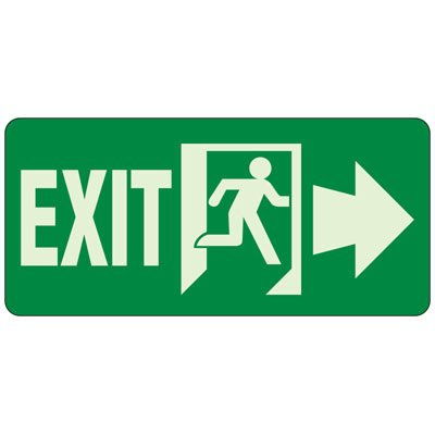 """Exit (Right Arrow) Glow Sign, 6-1/2"""" x 14"""""""