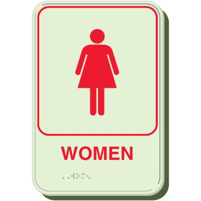 Glow In The Dark Women Braille Sign