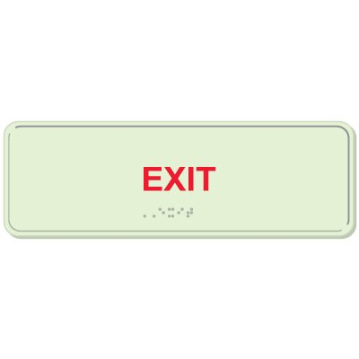 Glow In The Dark Exit ADA Sign