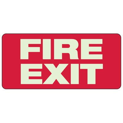 """Fire Exit Sign, 6-1/2"""" x 14"""