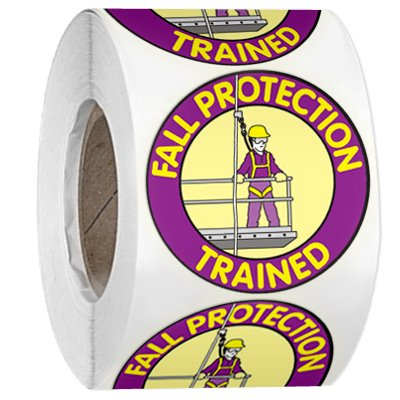 Hard Hat Safety Labels On A Roll - Fall Protection Trained