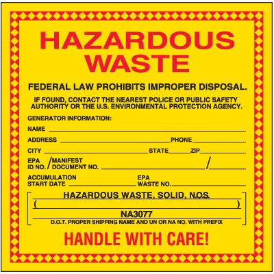 Hazardous Solid Waste Labels