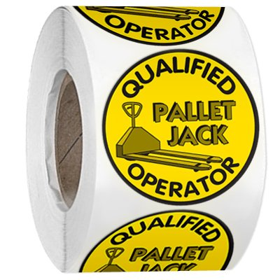 Hard Hat Safety Labels On A Roll - Qualified Pallet Jack Operator