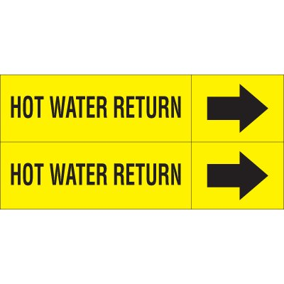 Hot Water Return - Weather-Code™ Self-Adhesive Outdoor Pipe Markers