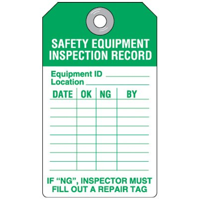 Safety Equipment Inspection Tag