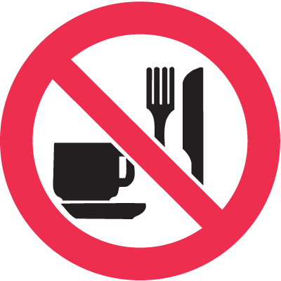ISO Prohibition Labels - No Food or Drink