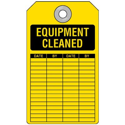 Equipment Cleaned Tag