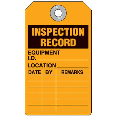 Inspection Record Equipment Orange Tag