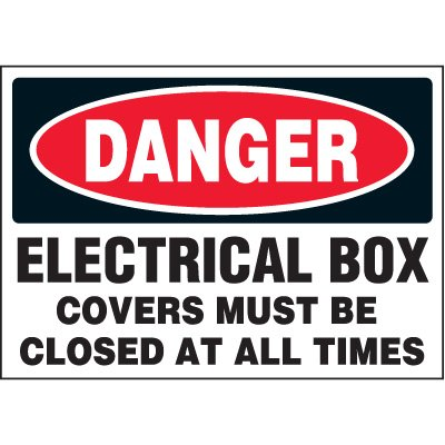 Jumbo Electrical Labels - Electrical Box Covers Must Be Closed