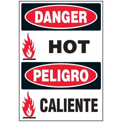 Bilingual Danger Hot Label