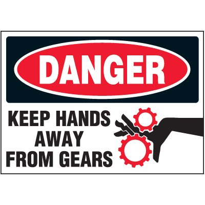 Keep Hands Away From Gears Label