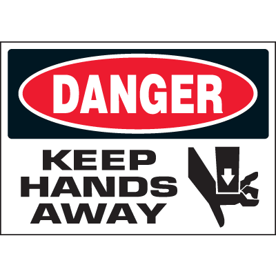Machine Hazard Warning Labels - Danger Keep Hands Away