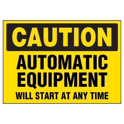 Caution Automatic Equipment Warning Markers