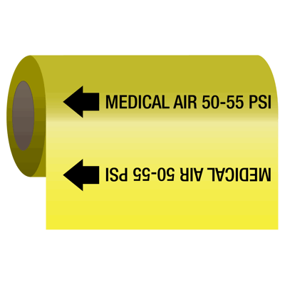 Medical Air 50-55 psi - Medical Gas Self-Adhesive Pipe Markers-On-A-Roll