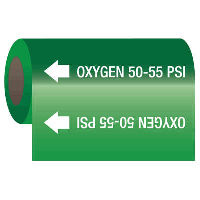 Oxygen 50-55 psi - Medical Gas Self-Adhesive Pipe Markers-On-A-Roll