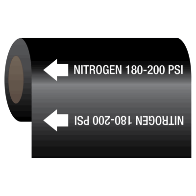 Nitrogen 180-200 psi - Medical Gas Self-Adhesive Pipe Markers-On-A-Roll