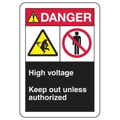 ANSI Format Multi-Message Hazard Sign - Danger High Voltage