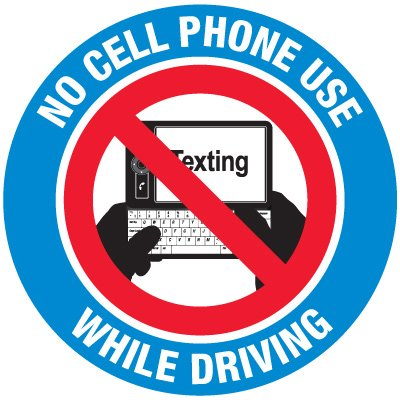 No Texting Security Labels - No Cell Phone Use While Driving