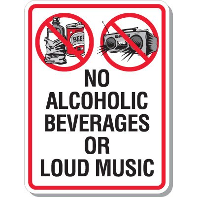 No Alcoholic Beverages Signs