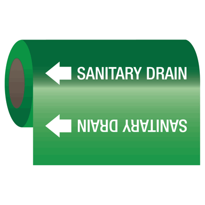 Sanitary Drain - Self-Adhesive Pipe Markers-On-A-Roll