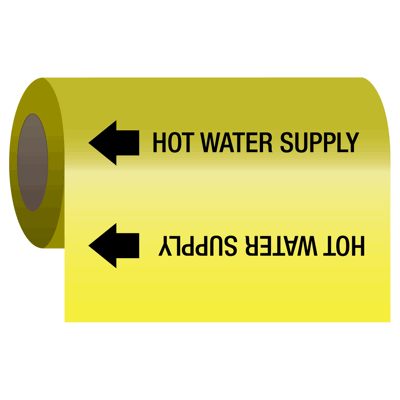Hot Water Supply - Self-Adhesive Pipe Markers-On-A-Roll